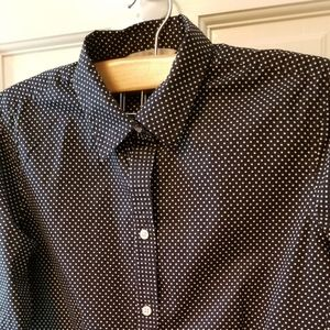 Llbean Signature Blue Polka dot shirt